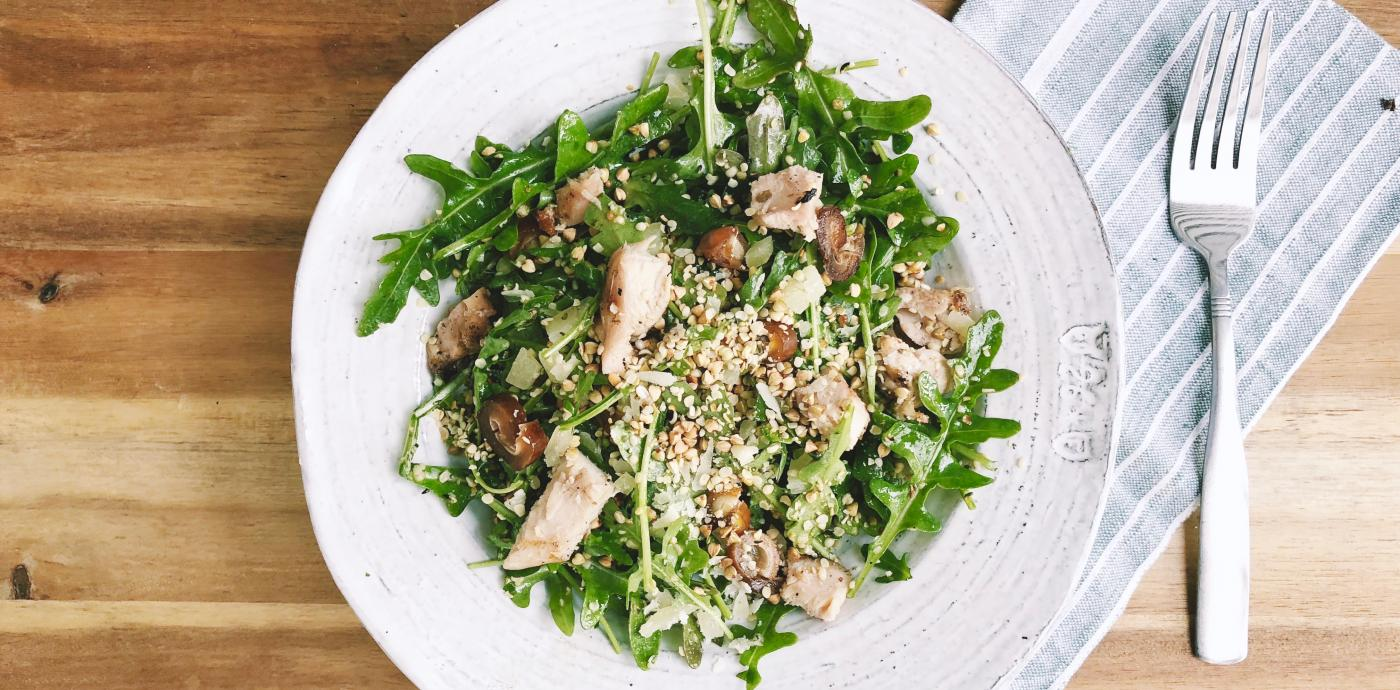 Arugula Salad with Chicken, Dates and Buckwheat Hemp Crumble