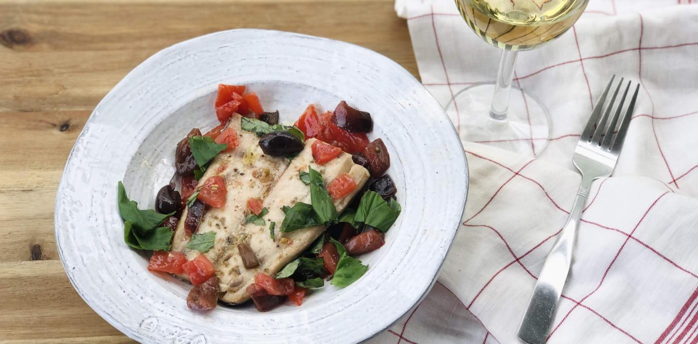 baked snapper with tomatoes and olives