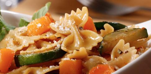 Farfalle with Zucchini, Butternut Squash & Pecorino Cheese