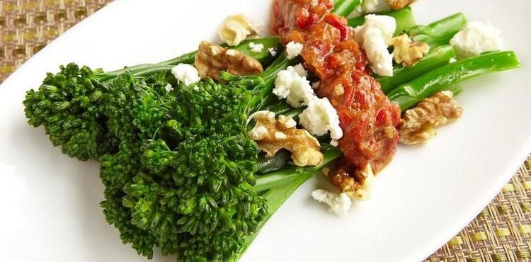 Broccolini with Walnut Red Pepper Feta Relish