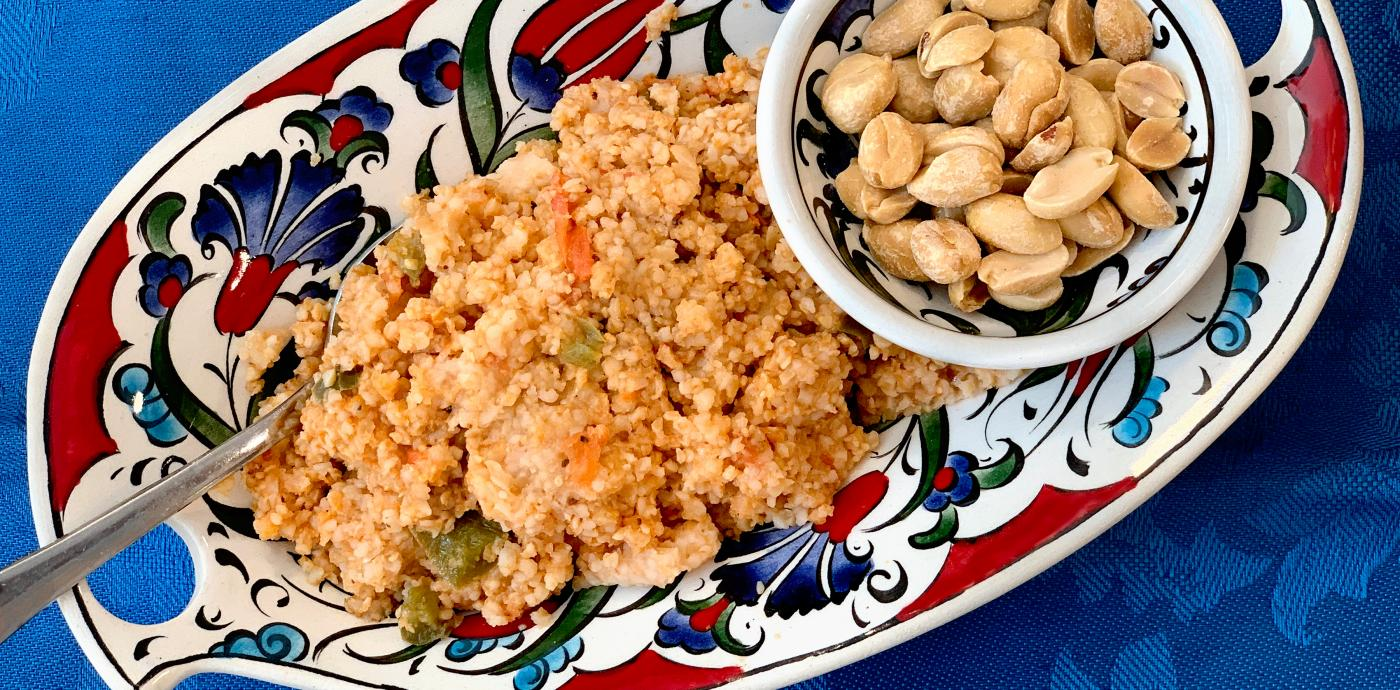 bulgur pilaf in a colorful oval dish