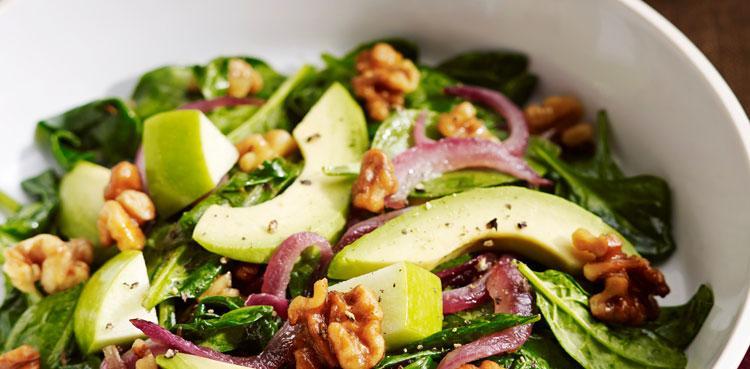 Walnut Wilted Spinach Salad