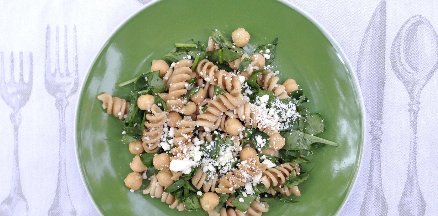 Chickpea Spinach Pasta Feta Salad