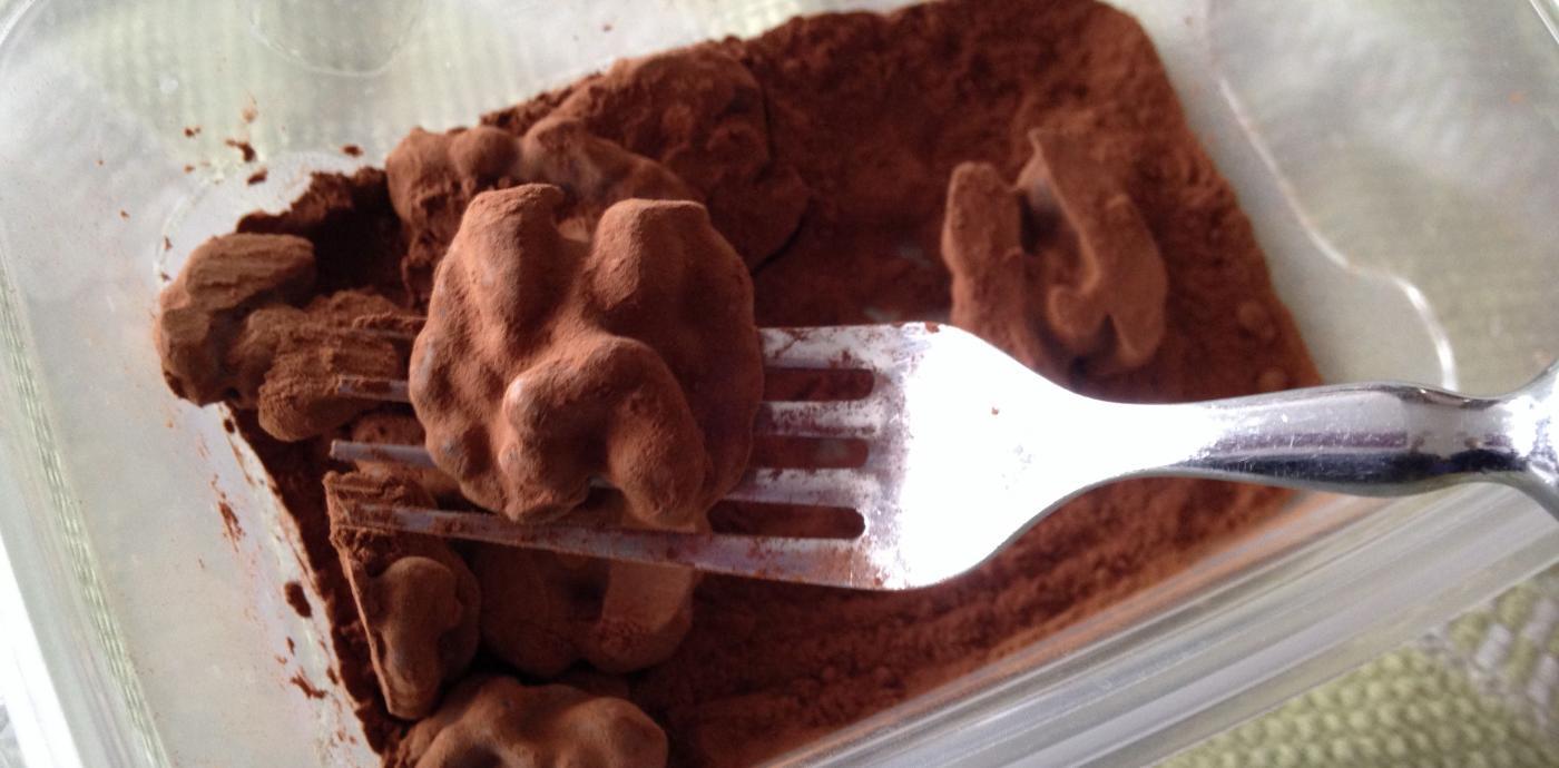 Dredging Walnuts in Cocoa Powder