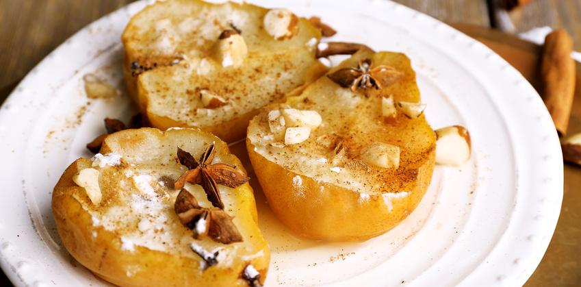 three poached pears with spices