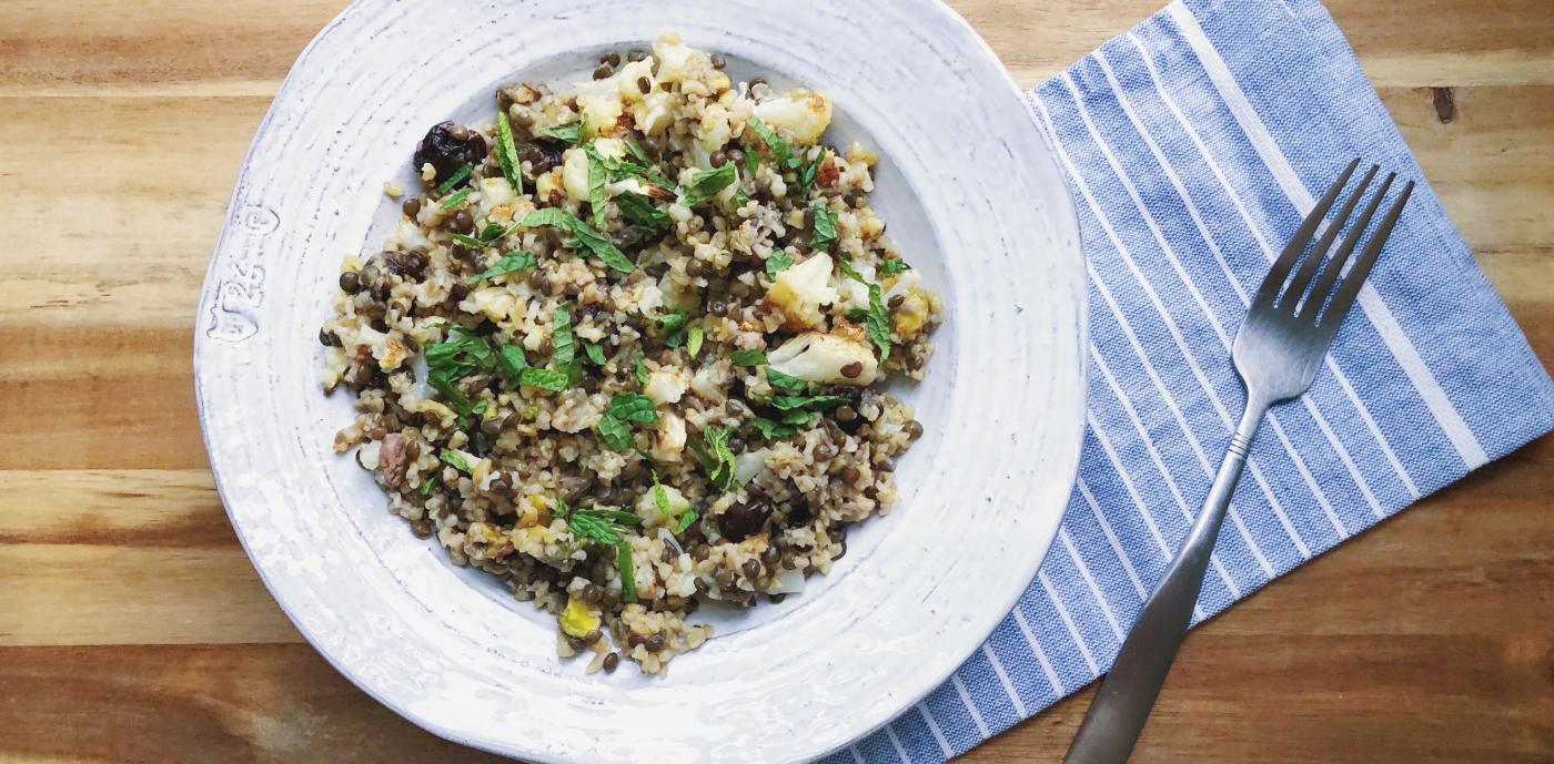 freekeh salad with black lentils and dried cherries