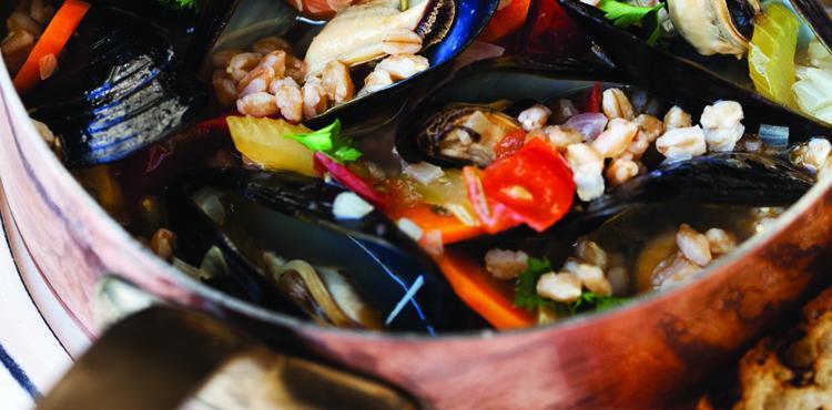 Mediterranean Mussels with Farro