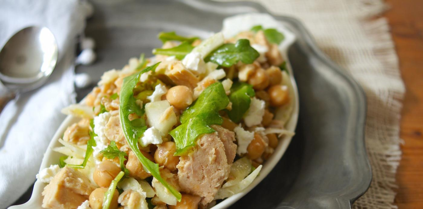 Farro, Tuna, and Chickpea Salad with Crumbled Feta