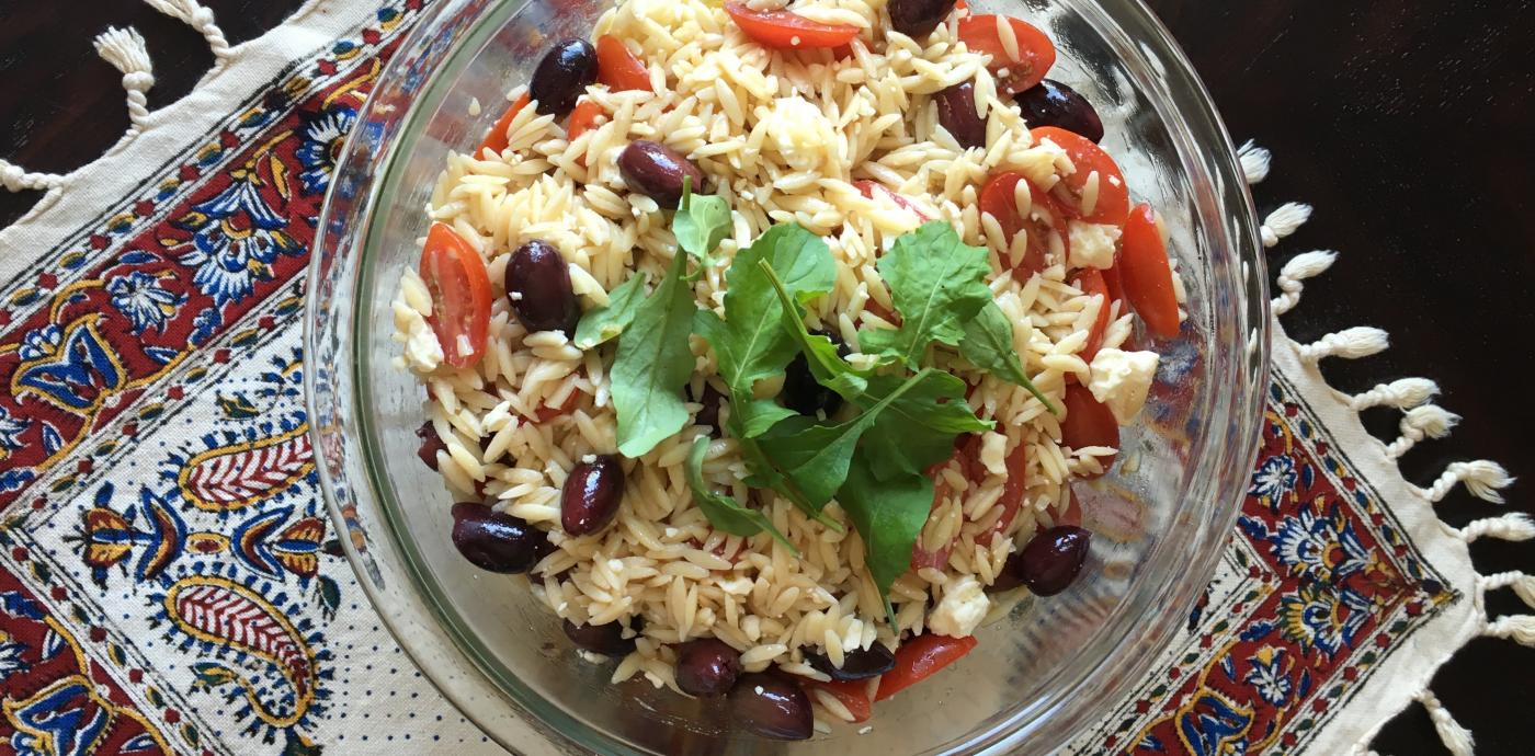 Orzo with Feta, Olives, and Tomatoes