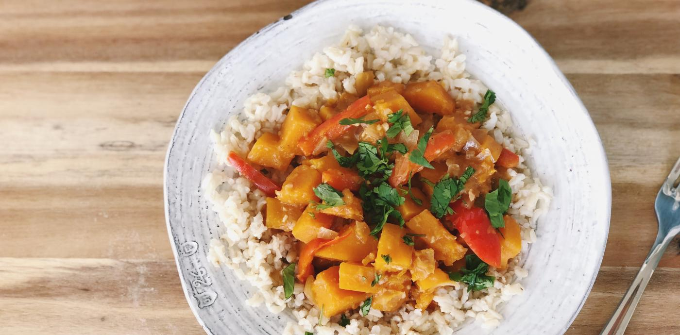 Red Curry Kabocha Squash over Brown Rice