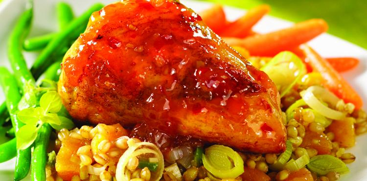 Roast Chicken with fruit-studded Wheatberries