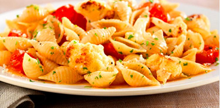 Whole Grain Shells with Cauliflower and Roasted Tomatoes