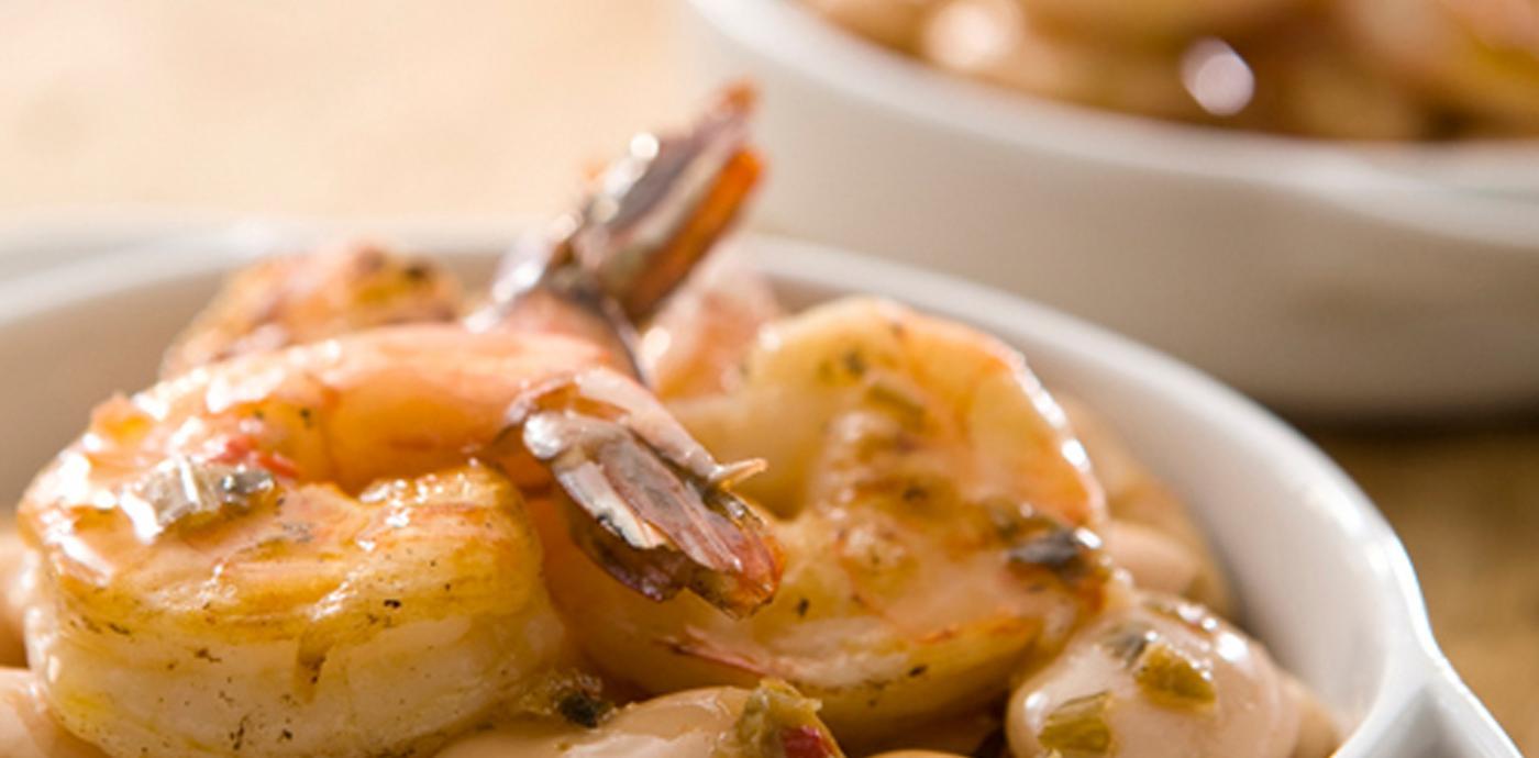Shrimp and Gigandes Beans