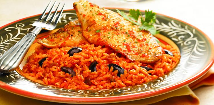 Tilapia with Cheesy Roasted Pepper Rice