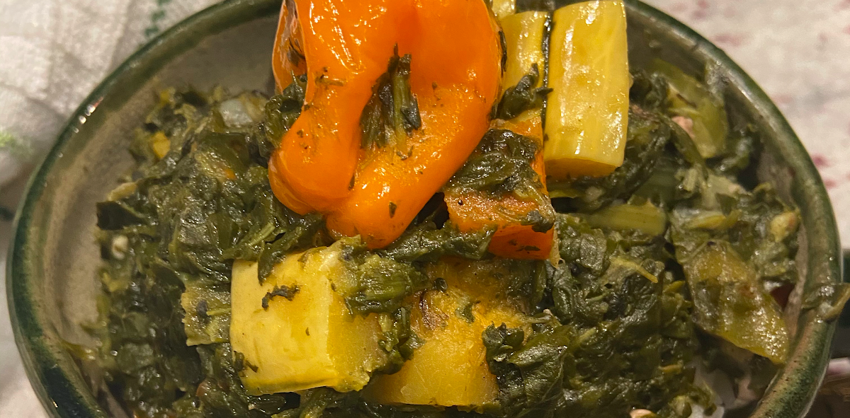bowl of spinach stew