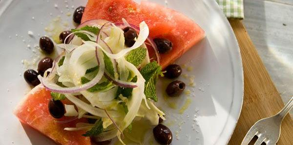 Watermelon Fennel Nicoise Olive Salad