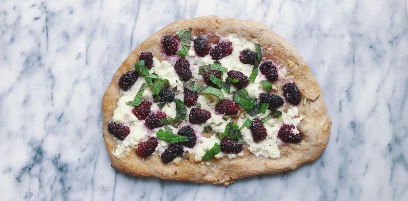 whole sweet flatbread with ricotta and blackberries