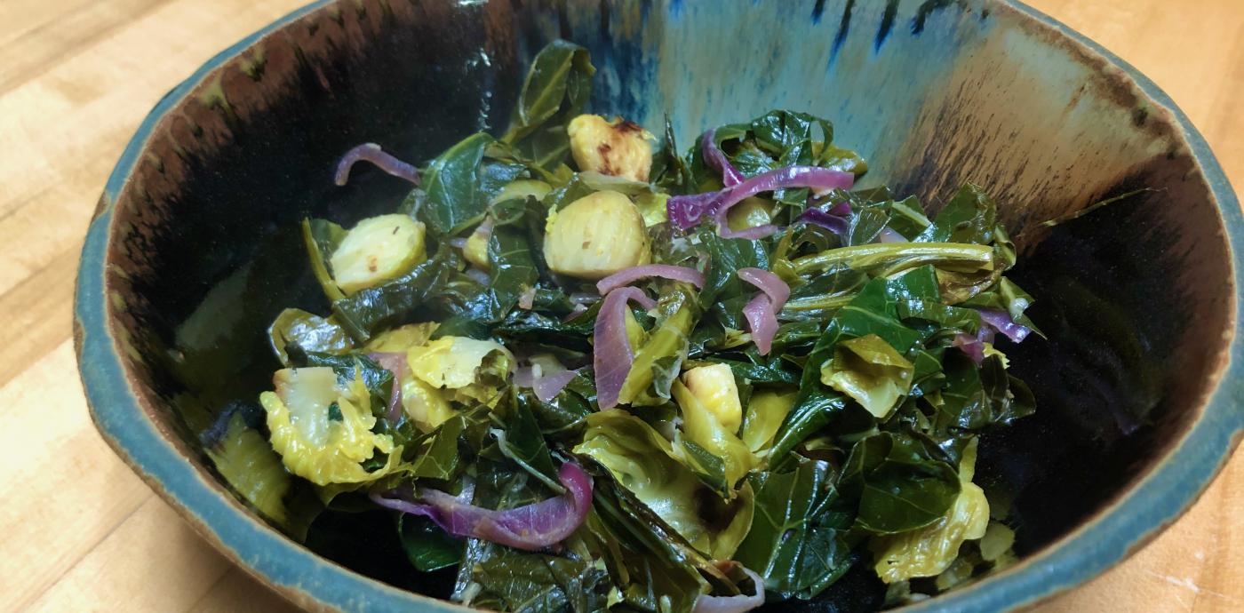 zesty brussels and collards in bowl