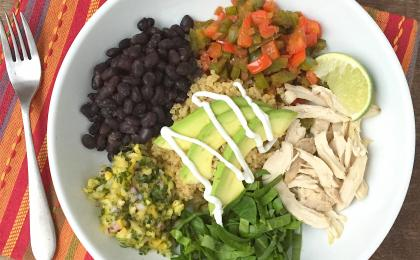 Burrito bowls with chicken