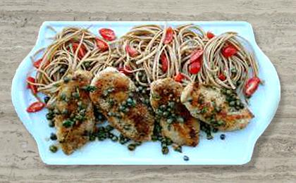Chicken Piccata with Whole Grain Linguini