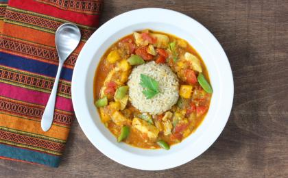 Coconut Fish Curry with Mango and Sugar Snap Peas