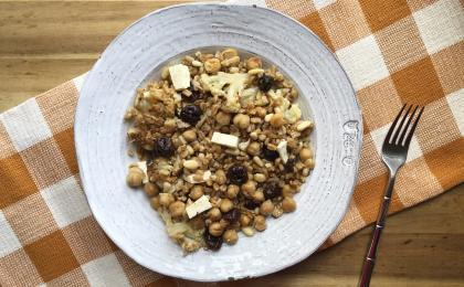 farro salad in a white dish