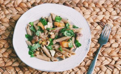 pasta salad with basil, grilled cantaloupe, and prosciutto