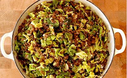 Rye Berries with Cabbage, Walnuts, Caraway