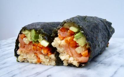 Millet Nori Wrap with Smoked Salmon