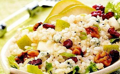 Pear Walnut Rice Salad with Blue Cheese Vinaigrette