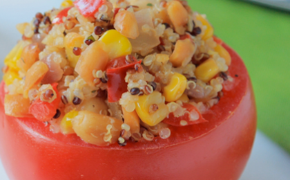 Tomato Stuffed with Peanut Quinoa