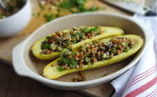 Yellow Squash Stuffed with Saffron Rye Berries
