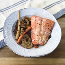 salmon over veggies
