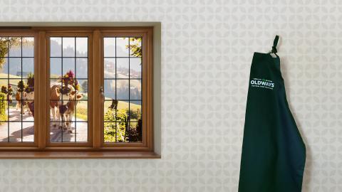 Zoom background with window view of Switzerland