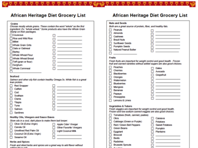 African Heritage Grocery List
