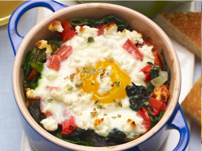 Baked Eggs with Goat Cheese and Peppercorns