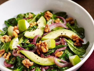 Walnut Wilted Spinach Salad