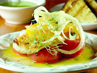 Cod with Tomatoes, Fennel, Orange
