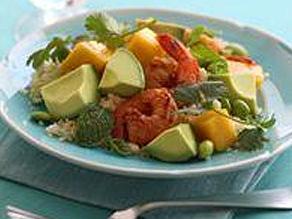 Couscous with Avocado, Mango, Shrimp
