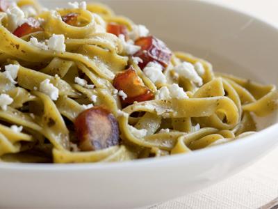 Spinach Fettucine with Date Pesto