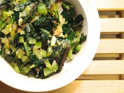 Flash-cooked Dandelion Greens