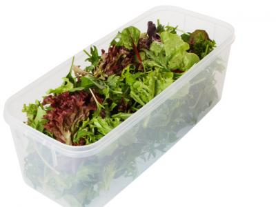 Leafy Greens stored in a plastic container