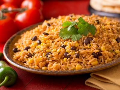 Beans and rice dish with cilantro garnish