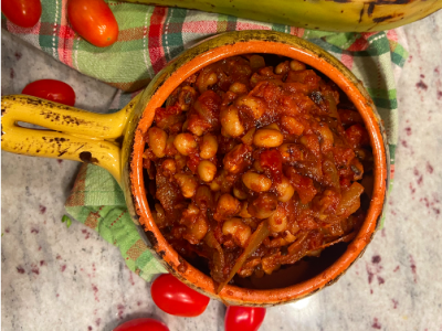 tomato stew in a yellow dish
