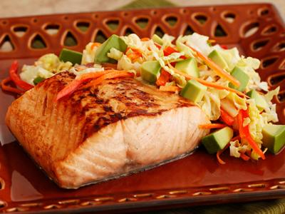 Glazed Salmon with Avocado Slaw