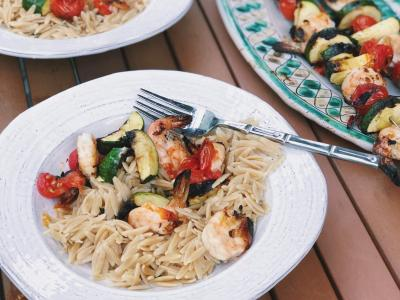 whole grain orzo served with grilled shrimp and veggies