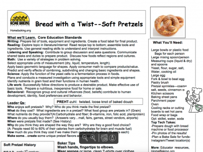 Home Baking Association Soft Pretzel Activity