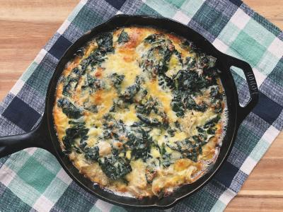 vegetable frittata in a cast iron skillet