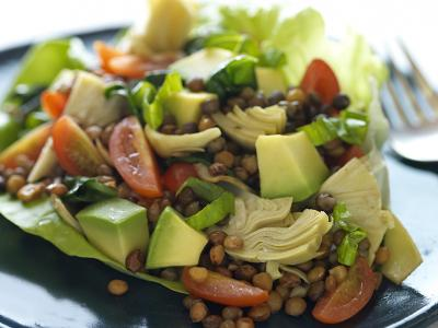 Lentil Salad with Avocados and Artichokes