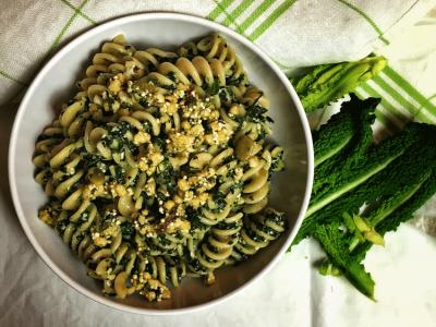 Whole Wheat Fusilli with Kale Pesto
